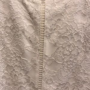 White House Black Market Tops - WHBM white lace sleeveless chiffon blouse EUC